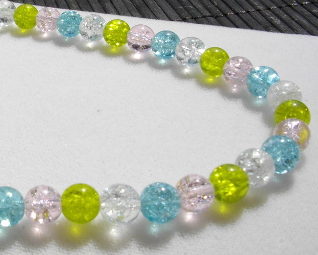 """""""Springy"""" Pastel Colored Crackled Glass Bead Necklace"""