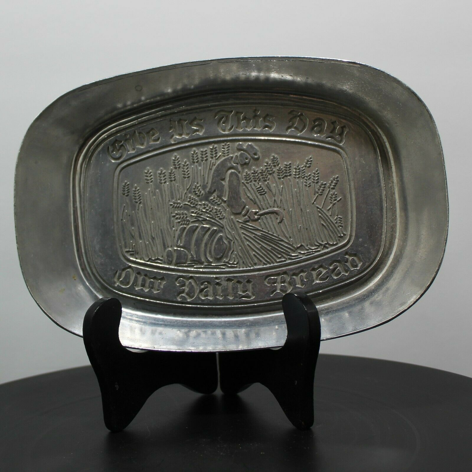 Primary image for Wilton Armetale Pewter Bread Tray Matthew 6:11 Give us this day our daily bread