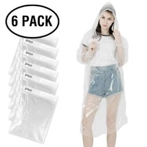 KKTICK Rain Poncho Disposable, Clear Adult Ponchos with Hood 6 Pack,... - $15.65