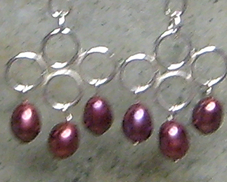 Burgundy Pearls & Argentium Sterling Silver Wire Work Earrings