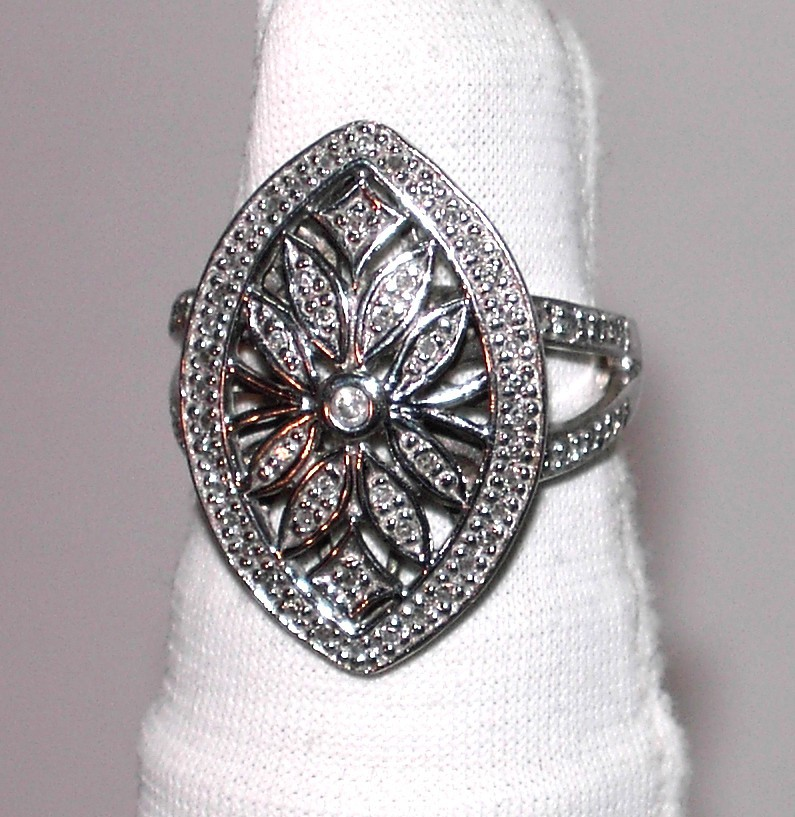 Lady's Marquis Shaped CZ and Silver Ring