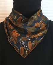 Vintage 60s Vera Neumann square silk scarf (Fall Leaves with ladybug)