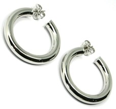 """925 STERLING SILVER CIRCLE HOOPS BIG EARRINGS, 4 cm x 6 mm (1.6"""" X 0.25"""") SMOOTH image 1"""