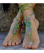 GREEN TREE of LIFE Barefoot Sandals,Foot Crochet jewelry,Hippie Beach Wedding - $48.00