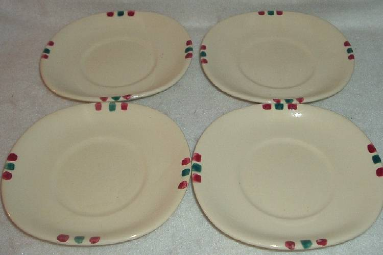 4 Vintage Purinton Pottery Apple pattern Saucers