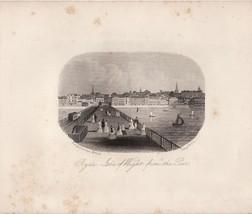 Original Vintage Engraving Pier on  Isle of Wig... - $20.00