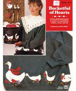 TOLE PAINTING BUCKETFUL OF HEARTS SWEATSHIRTS COLLARS WOOD & - $3.00