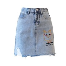 Mini Denim Skirt 2019 Summer Wild New Large Size High Waist Slim Fit A line Stud image 6