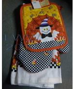 Oven Mitt Pot Holder Kitchen Towel Orange Checkered Candy Ghost Hallowee... - $9.99