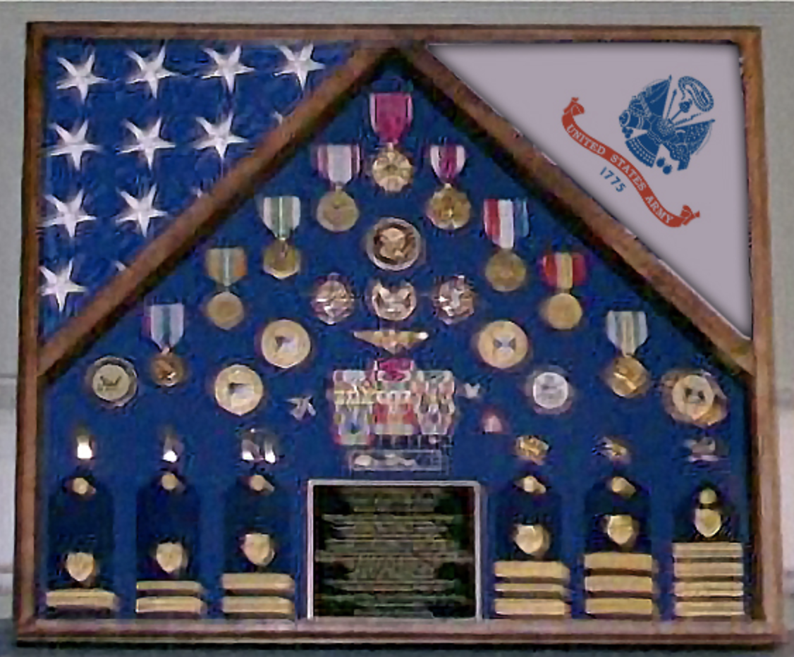 Primary image for ARMY TWO CASKET US FLAG SHADOW BOX DISPLAY CASE FOR MEDALS AND BADGES
