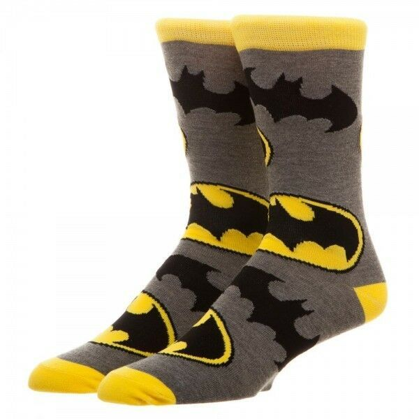 Primary image for Batman All Over Large Logo Print DC Comics Adult Crew Socks