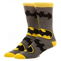 Batman All Over Large Logo Print DC Comics Adult Crew Socks - $11.75