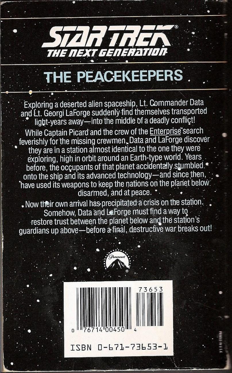 The Peacekeepers Star Trek TNG book 2 by Gene Deweese 1988