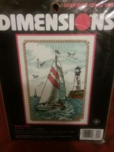 Counted Cross Stitch Kit 5x7 SAILING Dimensions #6744 Needlecraft Boat New - $9.89
