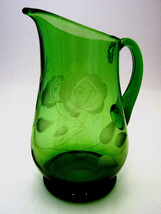 Green Hand Blown Glass Etched Flowers Small Vintage Pitcher or Creamer 6... - $21.03