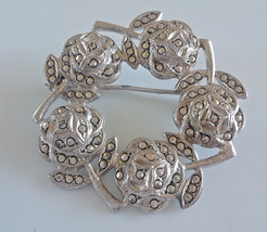 Vintage Marcasite Ring Wreath of Roses Flowers Silver Tone Brooch - €8,54 EUR