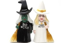 Pacific Trading Good Witch and Bad Witch Magnetic Ceramic Salt & Pepper ... - $11.87