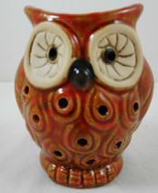 "Small Owl Figurine Scent Holder Potpourri Orange 4"" Ceramic - $12.86"