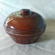 Vintage Brown Stoneware Pottery Dutch Oven Lidded Striped - $24.72