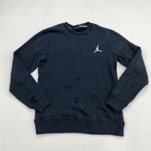 Jordan Sweatshirt Mens Medium Black Long Sleeve Crew Neck Cotton Blend I... - $18.95