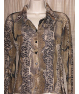 Snake Print Womens Stretching Fitted Sexy Button Down Shirt Size S/M Bla... - $9.99