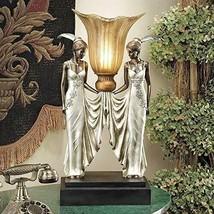 Art Deco Elegant Torchiere Maiden TABLE LAMP Sculpture Decor Night Light Statue - $179.95