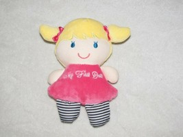 Carters Child of Mine My First Doll Pink Blond Hair Blue Eyes Stripe Bab... - $14.84