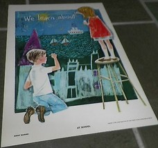 1963 Vintage Children's Print At School Sunny Warner - $7.92