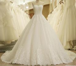 Elegant White Lace Pricess Wedding Dress Appliqued Bridal Ball Gowns Dre... - $195.00