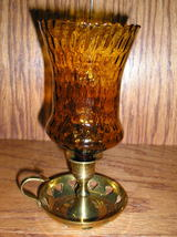 Homco Amber Diamond Optic Glass Peg Votive Cup Candle Holder - $6.99