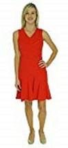Calvin Klein Dress Sz 8 Calvin Klein Womens Solid V-Neck Seamed Dress Fire - $59.35