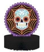 Day of the Dead Halloween Skull Honeycomb Centerpiece - $7.59