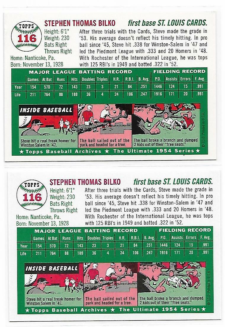 1954 Topps Archives Steve Bilko St. Louis Cardinals #116 Gold & Regular 2Cards image 2