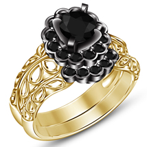 14k Yellow Gold Plated 925 Silver Round Cut Black CZ Bridal Engagement Ring Set - $87.25