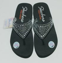 Skechers 38494 Yoga Foam Flip Flops Color Black Clear Rhinestones image 1