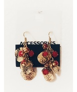 Red and Gold Dangle Earrings, New - $7.88