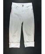 CHICO'S Size 0 (4) Platinum White Stretch Denim Cropped Jeans Pants - $19.99