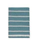 Sferra Marice Blue Striped Throw Blanket Peacock Ivory Fringed Wool Silk... - $188.10