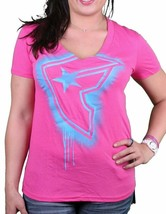 Famous Stars & Straps Womens Chaotic Pink Fizzy BOH V-Neck T-shirt Medium NWT