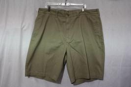 NWT SAVANE Easy Care FlatFront Dark Khaki 100% Cotton Walking Shorts Men... - $45.00