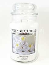 Village Candle Fresh Linens Scented Large Classic Jar Candle 2 Wicks 26 oz - $30.00
