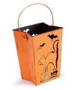 "Melrose 7"" Distressed Orange Cat and Bats Halloween Candle Lantern Luminary - £21.06 GBP"