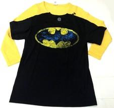 DC Comics Womens Top Set of 2 Batman Yellow Sweater Black Graphic TShirt M - $16.99