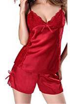 Unomatch Women Two Piece Set Silk Lace Decorated Lingerie Set Red - $19.99