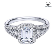 Emerald Cut Diamond White Gold Finish Pure 925 Silver Women's Engagement... - ₨5,158.46 INR