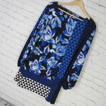 Alfani Shirt Top Tunic Womens XL Blue Black Mixed Print MRSP $70 40 New - $37.17