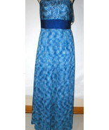 New Womens NWT $189 Tahari Dress Maxi Long Strapless Straps 8 Blue White... - $14.00