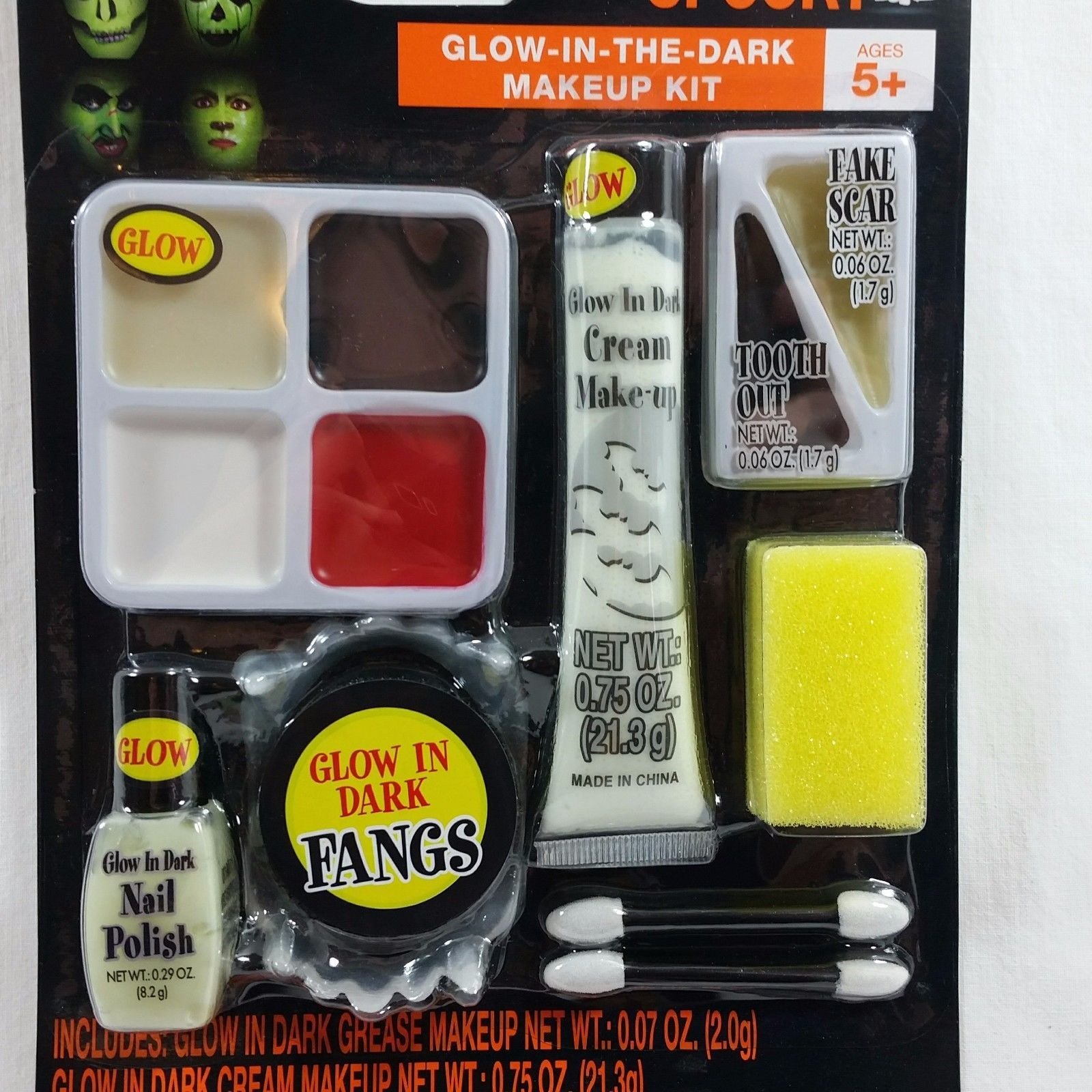 Halloween Glow In The Dark Makeup Kit Grease Makeup Fangs Fake Scar Tooth Out