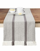 Sticky Toffee Cotton Woven Table Runner With Fringe, Traditional Diamond... - $20.66