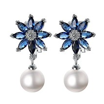 Yoursfs Clip On Earrings For Women Blue Cubic Zirconia and White Danglin... - $12.30